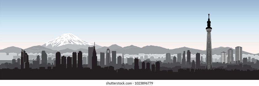 Tokyo city skyline  with Sky tree building view and mountain Fuji on background. Travel Japan background.