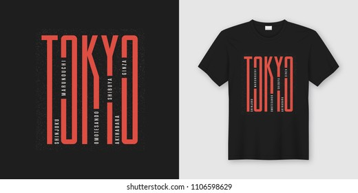 Tokyo city stylish t-shirt and apparel design, typography, print, vector illustration. Global swatches.