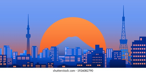 Tokyo city view at dusk or night with Tokyo tower and Tokyo skytree, mount Fuji and sunset on background, landscape vector illustration