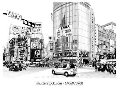 TOKYO, famous Shibuya crossroad - Vector illustration (all advertisements are fake, all characters are fictitious)