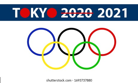 TOKYO, JAPAN - APRIL 2020: Tokyo 2020 strikethrough to be 2021 with red dot of Japan flag on the city name.
