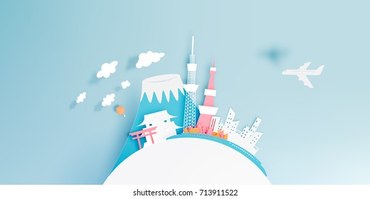 Tokyo japan city paper art style vector illustration