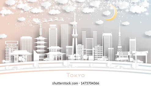Tokyo Japan City Skyline in Paper Cut Style with Snowflakes, Moon and Neon Garland. Vector Illustration. Christmas and New Year Concept. Santa Claus on Sleigh.