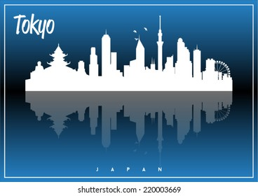 Tokyo, Japan, skyline silhouette vector design on parliament blue and black background.