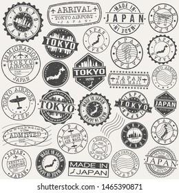 Tokyo Japan Stamp. Vector Art Postal. Passport Travel Design. Travel and Business Set.