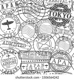 Tokyo Japan Stamps. City Stamp Vector Art. Postal Passport Travel. Design Set Pattern.
