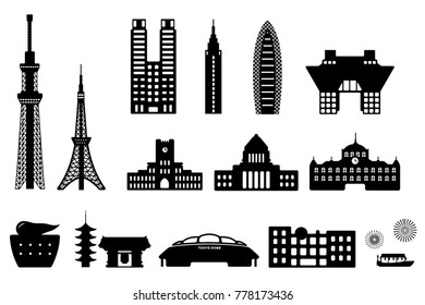 Tokyo landmark building / architecture illustration set.