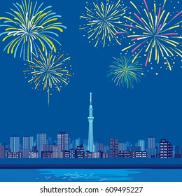 Tokyo landscape, night view, vector illustration,Fireworks night sky landscape background