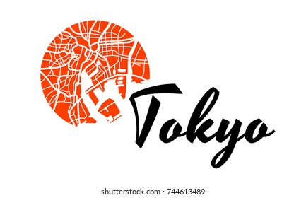 Tokyo logo. Modern logo for business related to sushi bars, Japanese culture, cookery, restaurants, sushi bars.  Logotype in flat style with map and nation symbol of Japan. Vector illustration symbol.