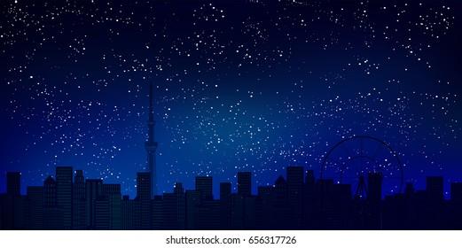 Tokyo Sky Tree night view background