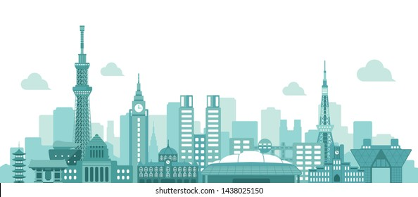 Tokyo skyline flat vector illustration. Tokyo landmark buildings.
