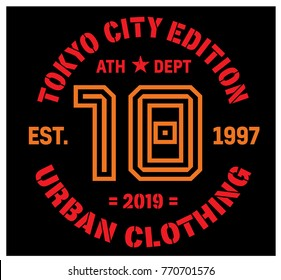 Tokyo sport t-shirt design, college sport team style typography for poster, t-shirt or print.