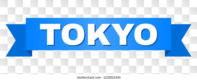 TOKYO text on a ribbon. Designed with white caption and blue stripe. Vector banner with TOKYO tag on a transparent background.