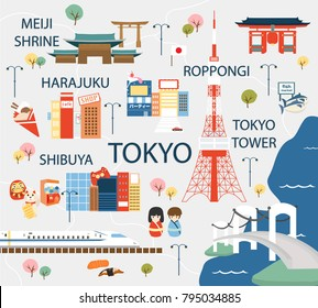 Tokyo travel map in flat illustration.