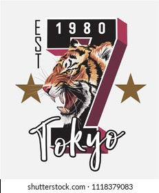 Tokyo typography slogan with tiger head illustration