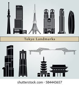 Tokyo V3 landmarks and monuments isolated on blue background in editable vector file