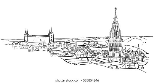 Toledo Ancient Panorama Wall Art, Hand-drawn Vector Outline Sketch