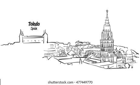 Toledo Ancient Skyline Panorama Sketch, Hand drawn Vector Outline Artwork
