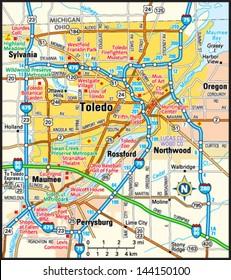 Toledo, Ohio area map