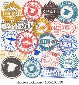 Toledo Spain Set of Stamps. Travel Stamp. Made In Product. Design Seals Old Style Insignia.