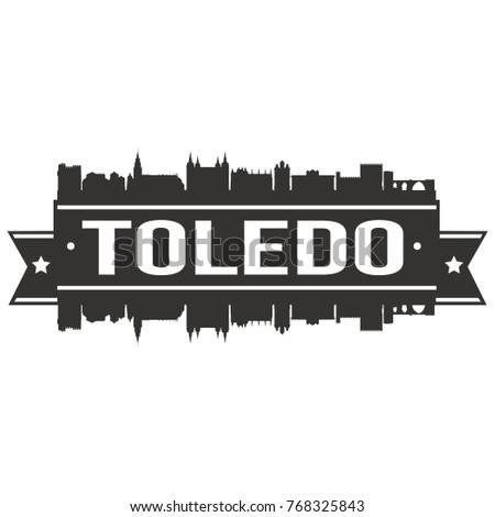 toledo spain skyline silhouette design city stock vector royalty