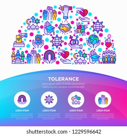 Tolerance concept in half circle with thin line icons: gender, racial, religious, sexual orientation, interclass, respect, self-expression, democracy. Vector illustration, web page template.