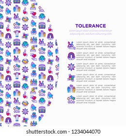 Tolerance concept with thin line icons: gender, racial, national, religious, sexual orientation, educational, interclass, for disability, self-expression. Vector illustration, web page template.