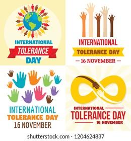 Tolerance day banner set. Flat illustration of tolerance day vector banner set for web design