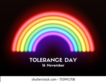 Tolerance day card. Vector neon glowing rainbow. LGBT tolerance