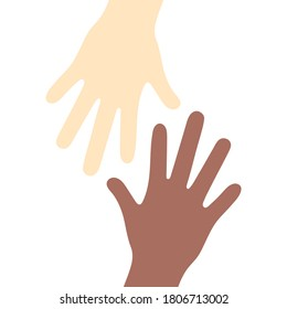 tolerance, togetherness, banner, sign, Hands of Unity .Two arms, Caucasoid race and Negroid race, poster,union, unity, communication, fellowship nations,multinational , racism, international, united