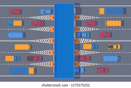 Toll road with the checkpoint. Road tax for using expensive. Highway toll plaza with transport. Car and roadside point. Vector flat top view illustration.