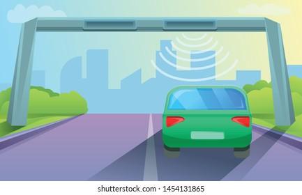 Toll road concept background. Cartoon illustration of toll road vector concept background for web design