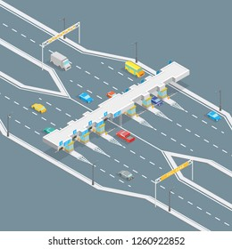 Toll Road Payment Concept 3d Isometric View Payment Gate Entrance System for Roadway and Expressway on a Grey. Vector illustration
