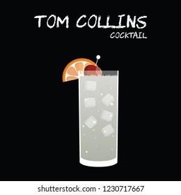 Tom Collins Cocktail Illustration in vector with orange wedge and cherry garnish on square black background.