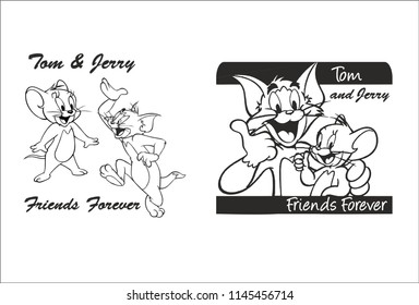 Tom and Jerry cartoon vector in black and white