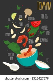 Tom Yam Kung spicy soup with ingredients, Thai cuisine vector Illustration