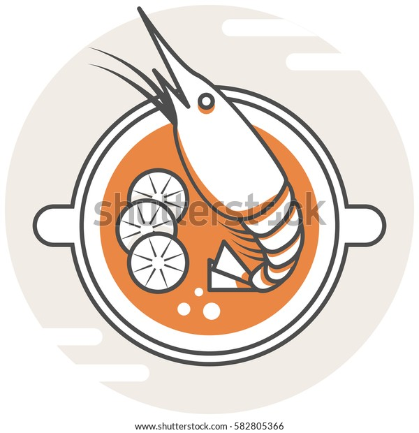 Tom Yum Kung - Infographic Icon Elements from Food Set. Flat Thin Line Icon Pictogram for Website and Mobile Application Graphics.