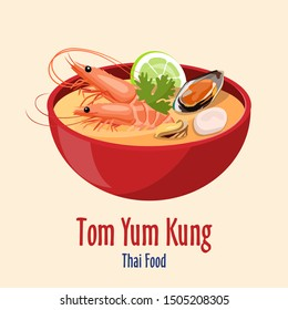 Tom Yum Kung - Red bowl with tasty seafood soup with shrimps and oysters, scallop, lime icon, Asian Thai cuisine, vector illustration