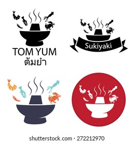 Tom Yum, Sukiyaki ,Spicy Hot pot with fish crab squid shrimp chili, Thai restaurant or Japan restaurant, vector icon and logo