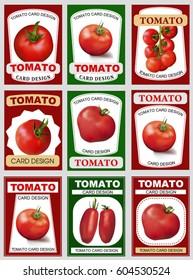 Tomato card design. Tomato label. Retro sticker of natural product tomatoes.