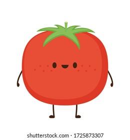 Tomato cartoon. Tomato character design. Tomato on white background.