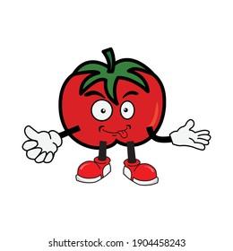 Tomato cartoon character icon vector.
