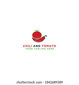 Tomato and chili design logo. Isolated vegetables. Vector illustration.
