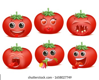 Tomato emoji cartoon character set. Various emotions. Funny, love, romantic, pain Vector collection