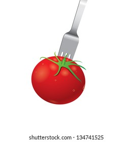 Tomato with fork vector