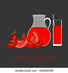 Tomato fresh juice, vegetables, vector background, healthy eating, postcard