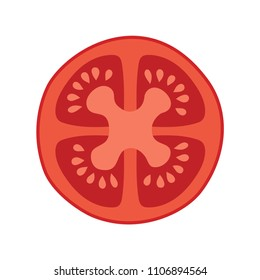 Tomato. Fresh sliced tomato, Isolated on a white background. Vector illustration