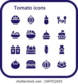 tomato icon set. 16 filled tomato icons.  Simple modern icons about  - Salad, Onion, Aubergine, Burger, Sauces, Fruit, Radish, Mustard, Tomato, Bitterballen