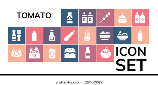 tomato icon set. 19 filled tomato icons. Simple modern icons about  - Mustard, Sauces, Bitterballen, Vegetables, Tomato sauce, Burger, Ketchup bottle, Sauce, Courgette