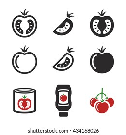 Tomato icons: Ketchup, Tomato Soup, Black and red elements on white background